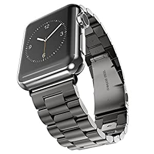 For Apple Watch Band, Evershop iWatch Band 42mm Black Stainless Steel Replacement Watch Band with Durable Metal Clasp for Apple Watch Series 3 Series 2 Series 1(Stainless Steel Strap-42mm Black)