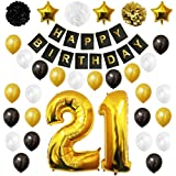 """21st Happy Birthday Party Balloons, Supplies & Decorations by Belle Vous - 32 Pc Set - Large 21 Years Foil Balloon 12"""" Gold, White and Black Latex Balloon Decoration - Decor Suitable for All Adults"""