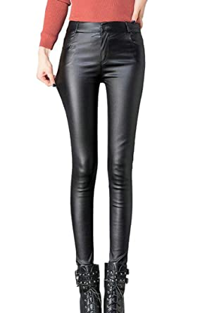 caad6738133ba Etecredpow Women Vogue Thicken High Rise Skinny Fit Pencil Pants Faux Leather  Leggings Black X-