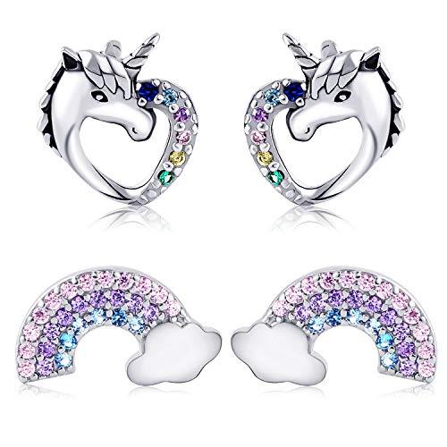 Tacobear 2 Pares Unicornio Pendientes Mujer Plata S925 Aretes Pendientes Niña Unicornio Amor Corazon Arco Iris…