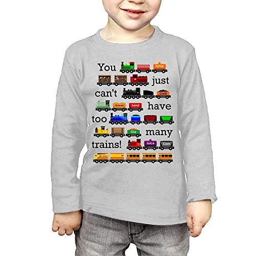 cedbe0c706bd6 Waldeal Kids Too Many Trains Girls Boys Long Sleeve T-Shirts 2 Toddler Gray  2t