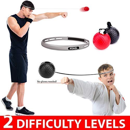 EVERMARKET Fight Ball Hand Eye Coordination Boxing Training Equipment Two Level Punching Reflex Balls Silicone Sport…