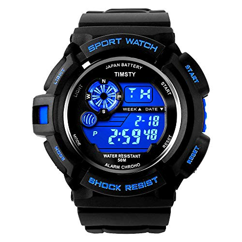 Timsty Electronic Sports Watch with LED Backlight,Water Resistant Quartz Digital Watches for Boys -