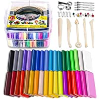 Polymer Clay Starter Kit, 36 Colors Oven Bake Clay, Baking Modeling Clay, DIY Soft Craft Clay, 5 Sculpting Tools, Accessories and Storage Box