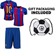 Barcelona Messi #10 Soccer Gift Set - Youth or Adult Sizes - Soccer Jersey - Shorts - Ball Drawstring Bag ✓ Ho
