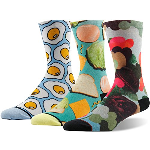 Novelty Casual Dress Crew Socks for Women, Ristake Coolmax Digital Print Multi-color Cute Modern Pattern Poached Egg Ham Cheese Lettuce Bread Graffiti Elements Mid Calf Socks, 3 Pairs (Season 7 Modern Family Halloween)