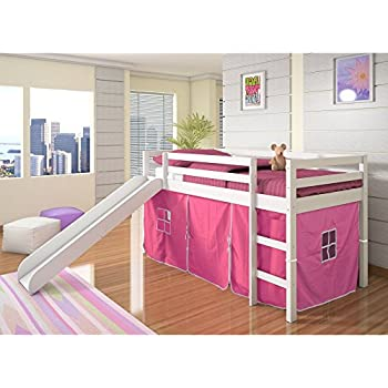 twin tent loft with slide and slatkits in white with pink tent