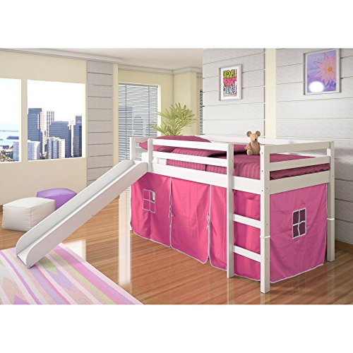 Twin Tent Loft With Slide And Slat Kits In White With Pink Tent