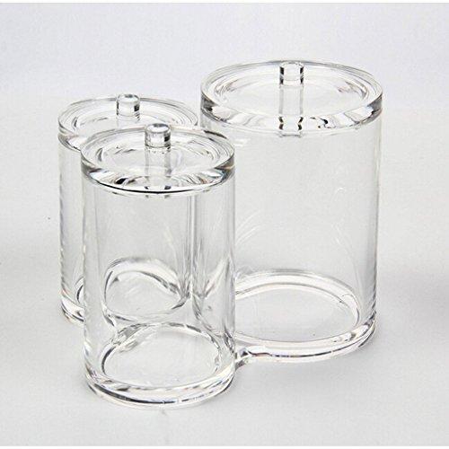 vencer 3pc acrylic clear cotton ball u0026 swab organizer vmo013