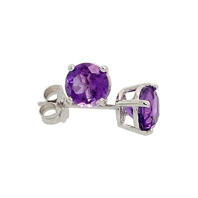 3833d92fe Genuine 14k White Gold 5 mm Amethyst Stud Earrings 1 cttw February  Birthstone