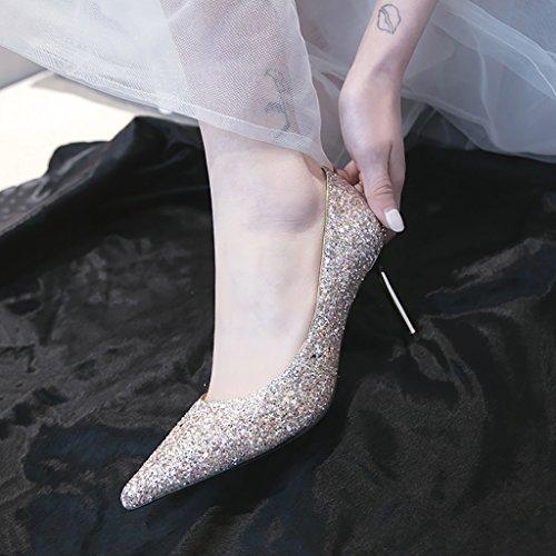 Zusammen UK4 Heels Damenschuhe Hochzeit Fairy Sommer Fein Bridal mit Herbst Kristall High Farbe EU36 7 CN36 Brautjungfer 5cm Spitzen YLLHX Frühling Größe Sandalen Prom Awq6811