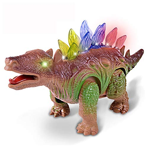 Gbell Smart Walking Triceratops Dinosaur with Lights & Sounds Real Movement Electronic Dino Toys for Kids Boys Girls 3-12 Year Olds Toy (B)