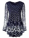 BAISHENGGT Women's O Neck A line Blouse Floral Lace Tunic Top L Blue Floral 2