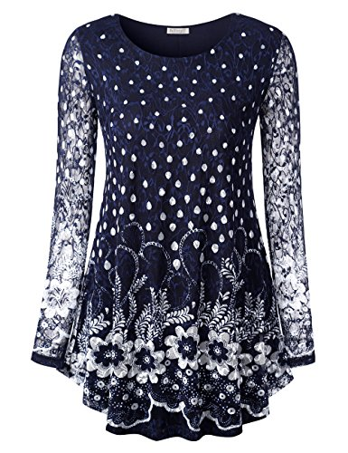 Ladies O Neck Lace Floral Blouse Top, Autumn Spring Loose White Dot Flower Pleated Hem Tee Shirt Tunic Blouse Top M Blue Floral 2 -