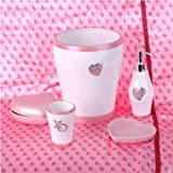 Pink Hearts and Diamonds 5 Piece Bath Accessory Set