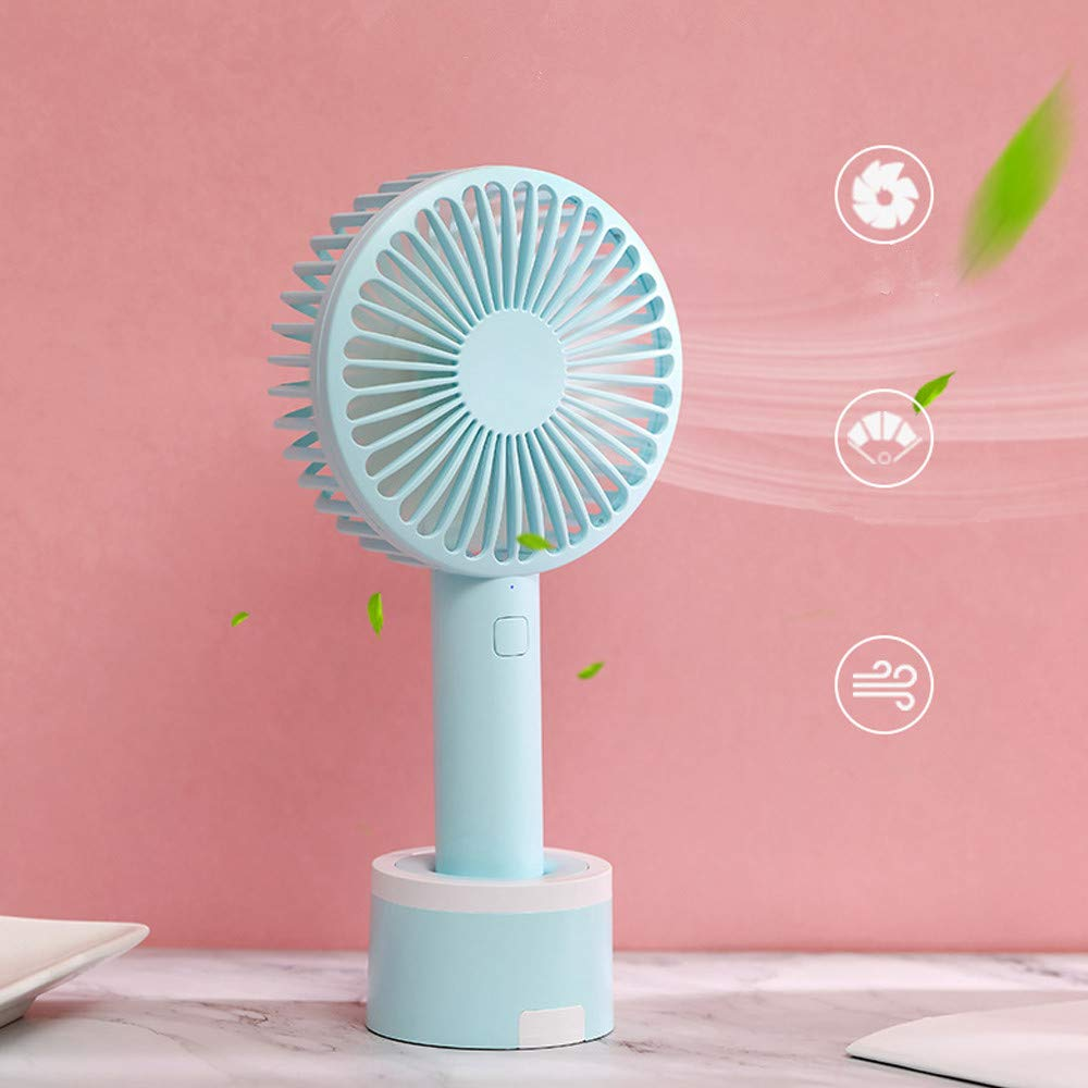 Mini Handhold Fan for Women,Best Summer Gift Portable Air Cooling Removable base USB Fan with Phone Holder Fans for Desk Home Speed Adjustable Cute Fan for Travelers and Office Workers(WA-Blue) by MIYA LTD (Image #4)