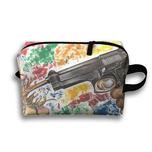 Travel Case Cosmetic Storage Bags Colorful Gun Digital Art M