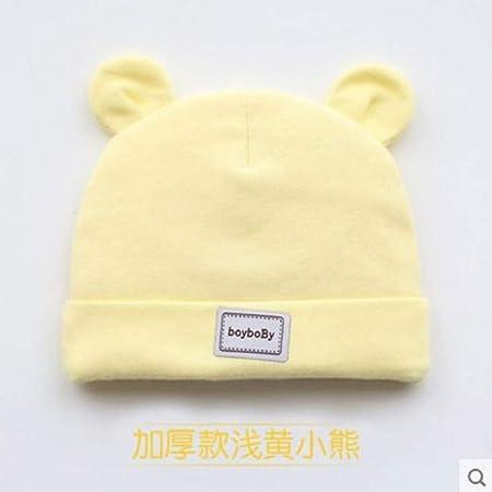 mlpnko Sombrero de bebé, Gorro fetal, niño, recién Nacido, niño, niña, algodón, Amarillo Grueso, Ajustable: Amazon.es: Hogar