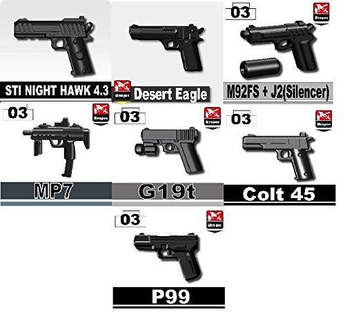 Custom Pistol Pack Designed for LEGO® Minifigures
