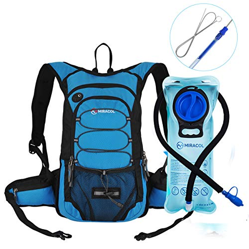 MIRACOL Hydration Backpack with 2L Water Bladder & Long Tube Brush, Insulated Hydration Pack Keeps Liquid Cool up to 4 Hours, Perfect Outdoor Gear for Hiking, Running, Camping, Cycling, Cerulean