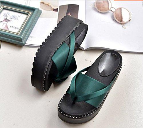 Sandali clip 35 Pan Moda con Da spessa con antiscivolo Alla toe Donna Spagna pantofole 35 7cm AJUNR pendenza calzature di Verde qdaw4q