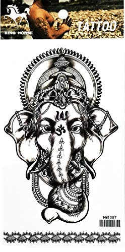 PP TATTOO 1 Sheet Elephant Ganesh Aum Om Yoga Buddha Hindu Infinity Lotus Flower Buddhism Temporary Tattoos Make up Neck Shoulder Upper arm Thigh Waterproof Stickers for Men Women Sexy Body Art