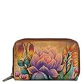 Anuschka Hand Painted Leather Women'S Twin Zip Organizer Wallet, Desert Sunset