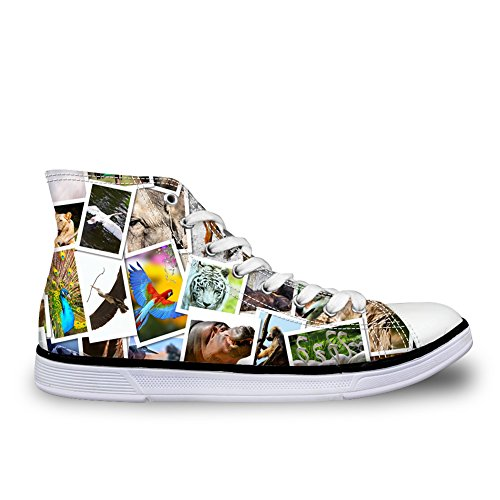 HUGS IDEA Animals Print Cute Womens Casual Canvas Shoes High Top Sneakers Animals 3 r8FpEsi2
