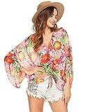 Pinspark Womens Sexy Floral Print Kimono Long Sleeve Chiffon Shirt Blouse Tops
