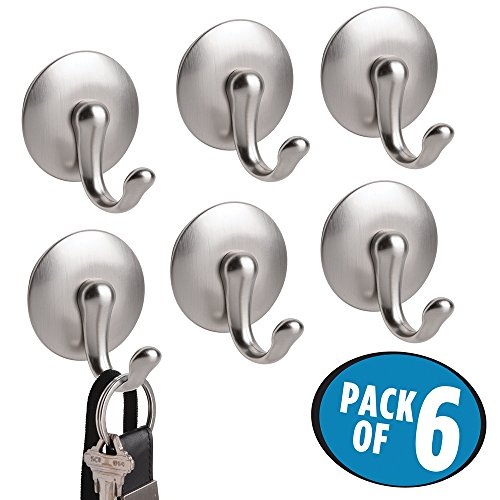 mDesign Magnetic Key Rack Organizer Hooks for Home & Kitchen - Pack of 6, Brushed Stainless Steel/Chrome