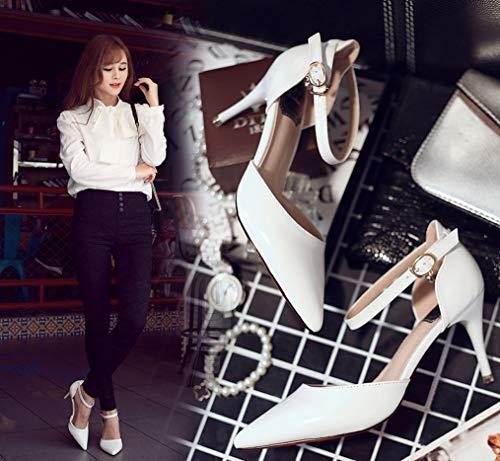 Bianco Donna Pura Fibbia Sexy Scarpe Festa Matrimonio Sexy Comfort 7 Classic Series sandali Zhhzz Parola una Traforate Con Formale Alti Punta Cm Tacchi Liangxie A vnq6ABE6x
