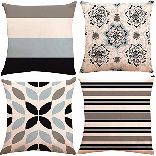 (Decorative Throw Pillow Covers 18 x 18 Inch Double Side Design,ZUEXT Set of 4 Cotton Linen Indoor Outdoor Pillow Case Cushion Cover for Car Sofa Home Decor (Navy Grey Floral Accent Pillow,Mix & Match))
