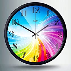Color Map 12-Inch Large Fashion Rainbow Stylish Concise Design Bedroom/living Room Round Ultra Mute Quartz Movement Metal Frame Wall Clock (Rainbow, Black)