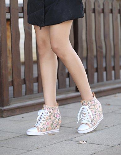 02 Cap Hidden up Wedge Women's Beige Toe High 1 Top Fashion Lace Sneakers Osscar WestCoast X5xRwFx