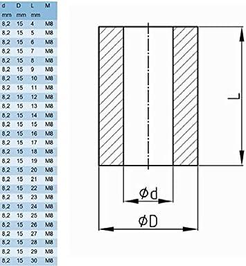 10x ENTRETOISE PLASTIQUE M5 NOIRE EPAISSEUR 4 A 30MM ID 5mm OD 10mm POUR VIS TUBE RONDELLE Epaisseur L=30mm