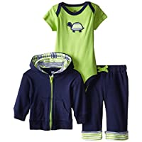 Yoga Sprout Baby-Boys 3 Piece Turtle Hoodie Bodysuit and Pant Set, Turtle, 0-...