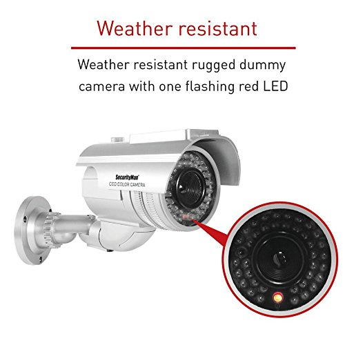 SECURITYMAN ROBUSTDUMMY Robust Solar-Powered Indoor/Outdoor Dummy Bullet Camera with LED