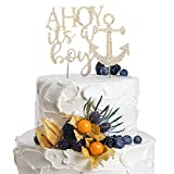 A HOY It's a boy Welcome Little One Nautical Rhinestone Gold Metal Cake Topper Party Decoration For Celebrate Baby Shower Birthday.
