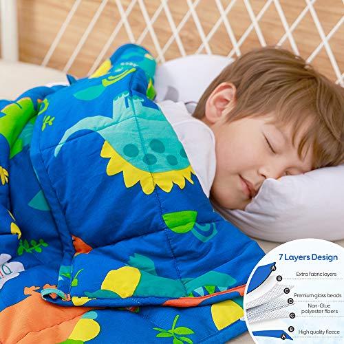 Anjee Kids Weighted Blanket, 100% Natural Cotton Heavy Blanket for Children, 2.3kg 90x120cm, Dinosaur Park