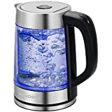 Sonyabecca Electric Cordless Glass Tea Kettle Double Wall Fast Boiling Stainless Steel Spout Finish LED Indicator Light Auto Shut Off Boil Dry Function 1.7L 1500W