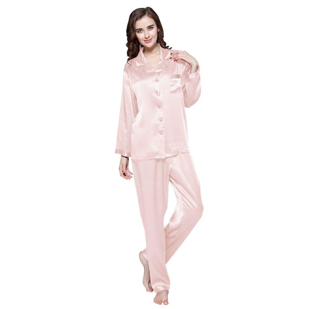 Light Pink LilySilk Women's Silk Pajama Set 16 Momme Long Top&Pants 100 Pure Silk Sleepwear