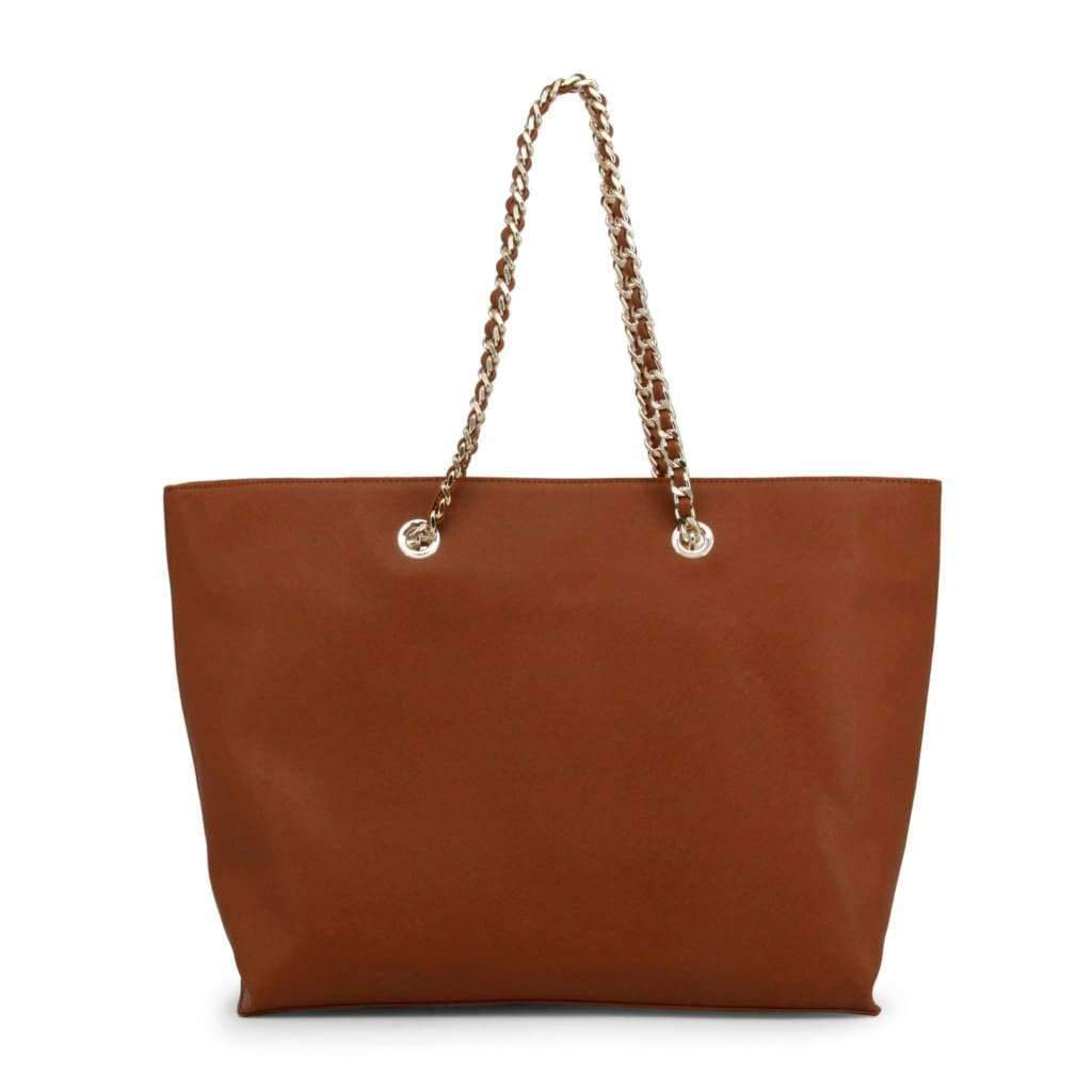 Blu Byblos Brown Double Handle Leather Shopping Bag