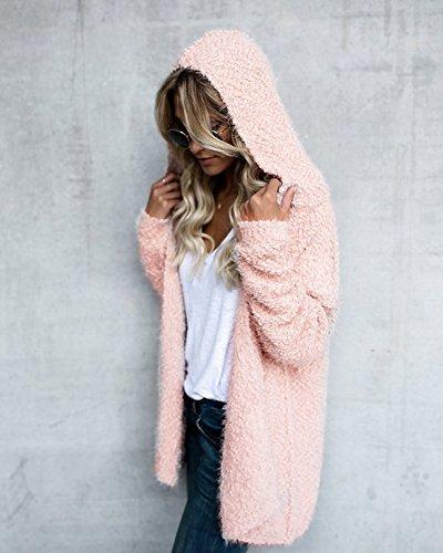 Warm Donne Morbidi Giacca Pink Cappuccio Cardigan Autunno Puro Con Maglia Maniche Invernale Peloso Giacche Maglieria Battercake Ragazze Lunghe Casuale Maglie Caldo Moda Donna Elegante Colore Lunghi U6wWa0