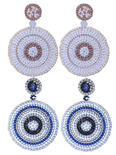 2 Pairs Statement Earrings Beaded Drop Earrings for Women - Handmade Bohemian Dangle Earrings Round Disc Idear Gifts White Gray ()
