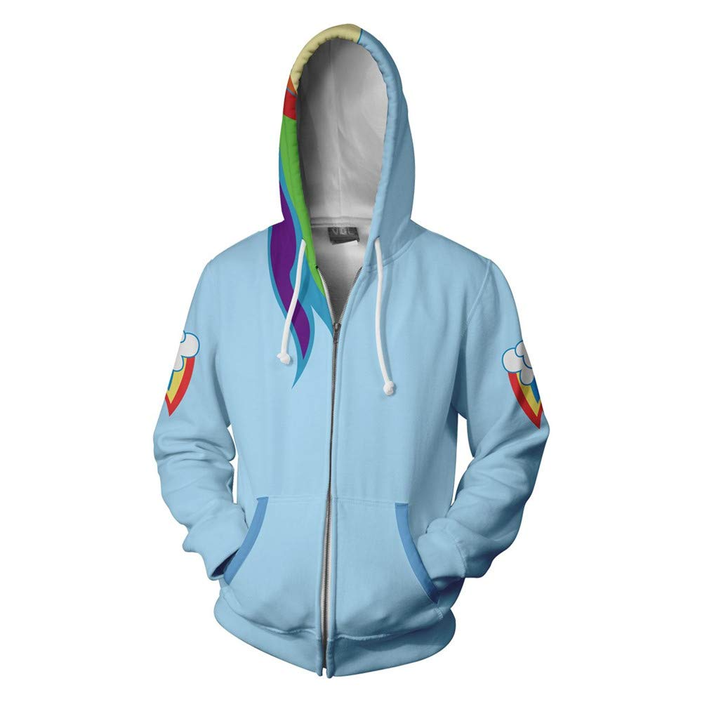 VOSTE Anime Cartoon Cosplay Dash Hoodie 3D Printed Rainbow Zipper Jacket (XX-Large, Color 1)