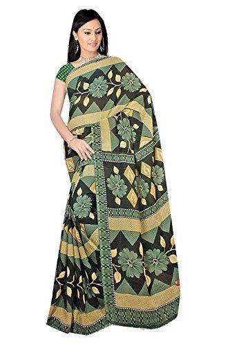 Trendofindia Bollywood Sari Kleid Chiffon Autumn Gelb Grü n Fo419
