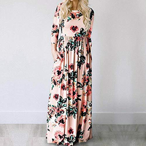 XGDLYQ VêteHommests Mahomme Fille Style Floral Robe de Plage Imprimé Tunique Mahomme et Moi Robes Assorcravates Tenues de Famille 3T Rose
