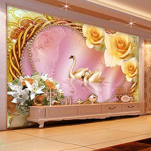 HZDDR European Style Luxury Interior Decor Wall Murals Wallpaper 3D Stereo Swan Silk Wallpapers Hotel Villa Living Room Backdrop Walls-420cm x 260cm