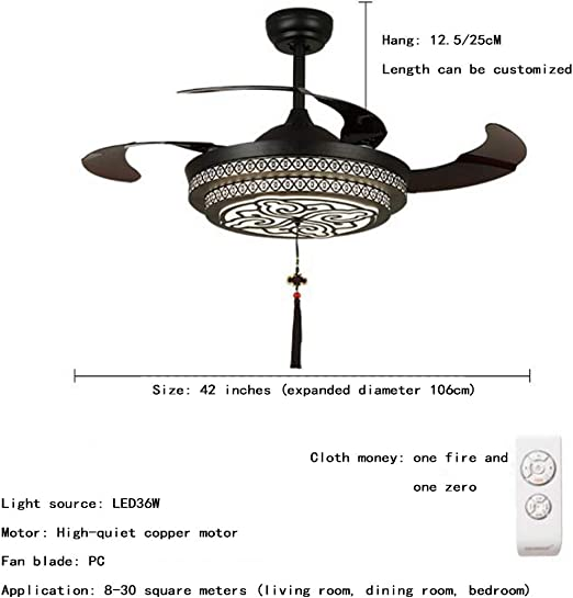 Lámpara de la sala lámpara antigua del ventilador lámpara clásica ...