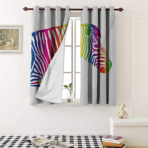shenglv Safari Blackout Draperies for Bedroom Zebra Portrait in Multicolored Stripes Zoo Animal Savannah Mammal with Vibrant Skin Curtains Kitchen Valance W72 x L63 Inch Multicolor